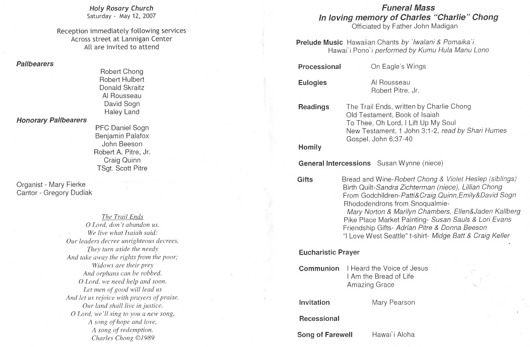 Funeral Program (629k); Writings By Charlie Chong.  Program For A Funeral
